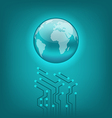 Abstract background with circuit board and earth vector image