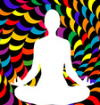 A male lotus position silhouette vector image