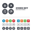 Airplane icons World globe symbol vector image vector image