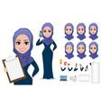 arabic business woman character creation set vector image vector image