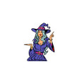 beautiful witch announce halloween party vector image vector image