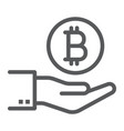 bitcoin on hand line icon finance and money vector image vector image
