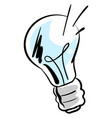 blue bulb drawing on white background vector image