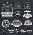 business set label template of emblem element for vector image