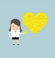 businesswoman with heart shape yellow sticky notes vector image vector image