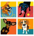 cartoon boxer black labrador dachshund beagle vector image