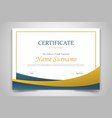 certificate design template with golden and dark vector image vector image