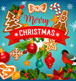 christmas cookie with xmas tree greeting card vector image vector image