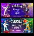 circus show performers funfair carnival clowns vector image vector image