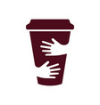 coffee cup and hands logo cafe symbol vector image