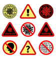 coronavirus covid-19 prohibition and warning signs vector image vector image
