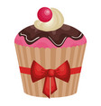 delicious and sweet cupcake icon vector image vector image