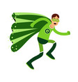 ecological superhero man in green costume running vector image vector image