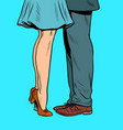 feet a couple kissing when they meet vector image vector image