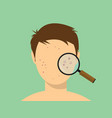 human male acne face with magnifying glass vector image
