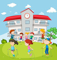 Kids jumping rope at the school ground vector image vector image