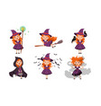 little witch cartoon character collection lovely vector image vector image
