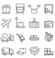 logistics cargo and shipping line icons vector image