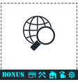 magnify globe icon flat vector image vector image