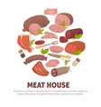 meat house poster of meat and sausages vector image vector image