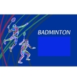 Mens doubles badminton players Color vector image