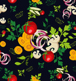 Organic vegetables seamless pattern background vector image vector image