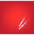 Realistic syringe on red background vector image