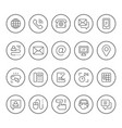 set round line icons of contact us vector image vector image