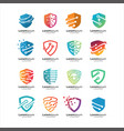 shield tech logo design vector image vector image
