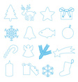 simple blue outline merry christmas icons eps10 vector image