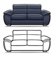 sofa couch cartoon isolated vector image vector image