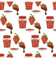 strawberry chocolate and jam in jar and plate vector image