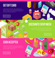 supermarket shopping discounts isometric posters vector image vector image