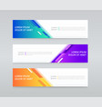 three different banner backgrounds or templates vector image vector image