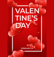 valentines day background with red hearts on top vector image