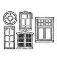 windows wooden sketch engraving vector image vector image