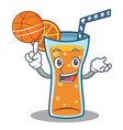 with basketball cocktail character cartoon style vector image vector image