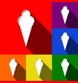 ice cream sign set of icons with flat vector image