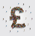 people stand in the shape of a pound money symbol vector image