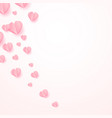 abstract background with paper cut pink hearts vector image vector image