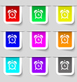 alarm clock icon sign Set of multicolored modern vector image vector image