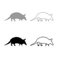 armadillo icon outline set grey black color vector image vector image