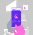 augmented reality weather forecast mobile app vector image vector image