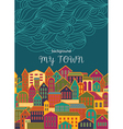 Background with Colorful Town vector image vector image