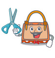 barber hand bag character cartoon vector image vector image