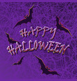 bats on the spidernet violet background vector image vector image
