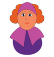 big woman in purple dress print on white vector image vector image