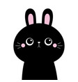 black rabbit buny hare silhouette icon cute vector image vector image