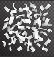 blank paper rain fall flying floating confetti vector image vector image