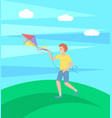 boy playing with kite outdoors happy kid running vector image